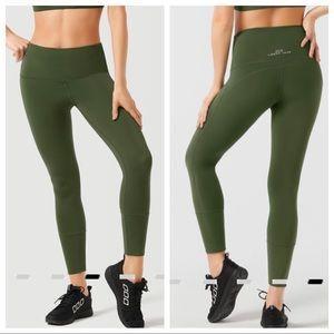 Lorna Jane High Rise Army Green Crop Leggings
